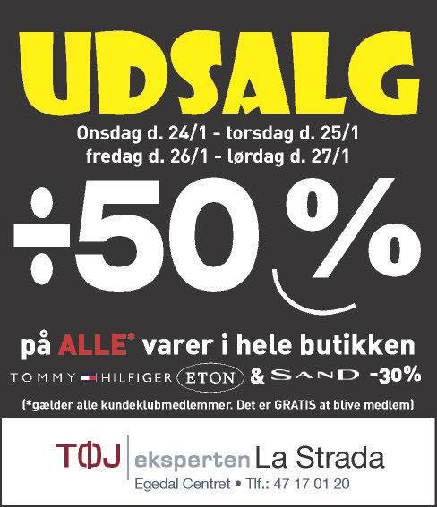 UDSALG – 30% og 50% i La Strada i uge 4   Køb lokalt i det